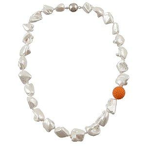Colar curto pérola barroca globo cristal laranja semijoia 112008244