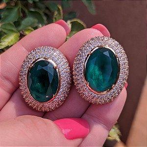 Brinco oval cristal esmeralda zircônia ouro semijoia 516010541