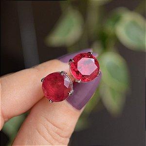 Brinco cristal redondo rubi ródio semijoia 517010521