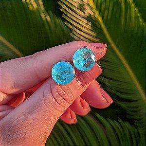 Brinco cristal redondo turmalina ródio semijoia 517010521