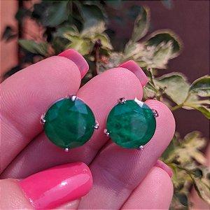 Brinco cristal redondo esmeralda ródio semijoia 517010521