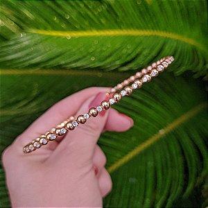 Choker esferas e zircônia cristal ouro semijoia