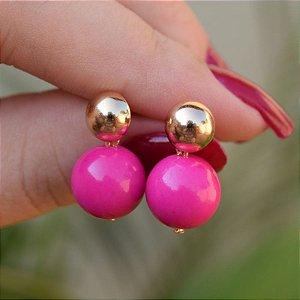 Brinco bola pink ouro semijoia