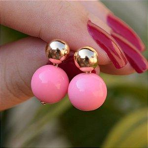 Brinco bola rosa ouro semijoia