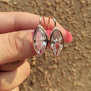 Brinco gancho zircônia cristal navete ouro semijoia 511006862