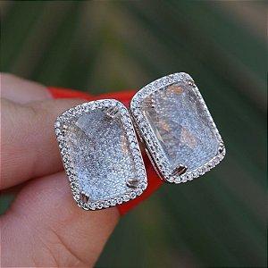 Brinco cristal retangular zircônia ródio semijoia