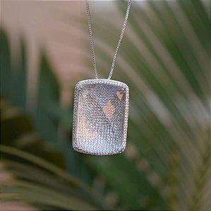 Colar retangular cristal zircônia ródio semijoia