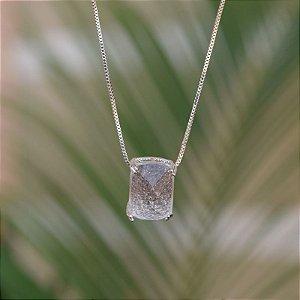 Colar cristal retangular ródio semijoia