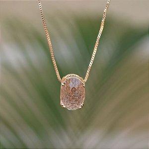 Colar cristal oval ouro semijoia