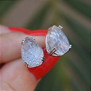 Brinco gota cristal ródio semijoia