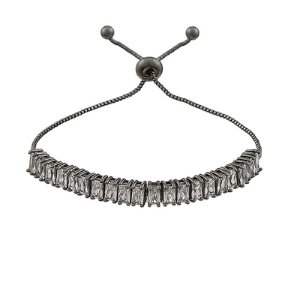 Pulseira gravata zircônia baguete cristal ródio negro semijoia ref 1251