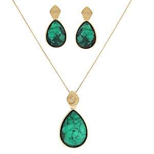 Colar e brinco gota pedra natural esmeralda ouro semijoia