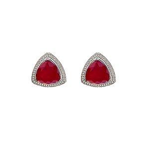 Brinco Desire triangular cristal rubi ródio semijoia