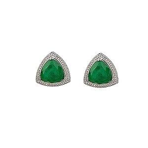 Brinco Desire triangular cristal esmeralda ródio semijoia