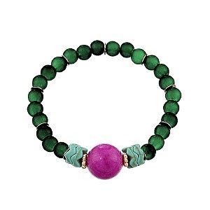 Pulseira cristais verde e roxo semijoia
