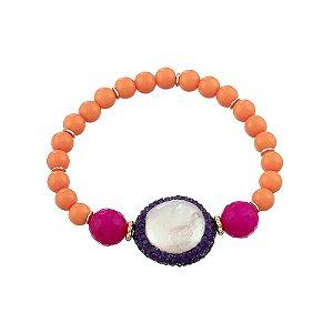 Pulseira bolas laranja pink e madrepérola semijoia