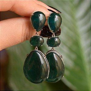 Brinco gota cristal esmeralda ródio semijoia