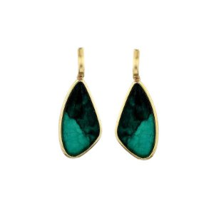 Brinco geométrico pedra natural esmeralda ouro semijoia