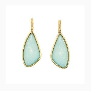 Brinco geométrico pedra natural madrepérola azul ouro semijoia
