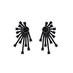 Brinco cometa zircônia black ródio negro semijoia