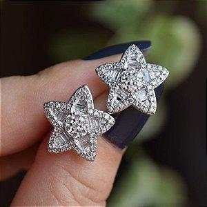 Brinco estrela zircônia  ródio semijoia
