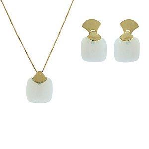 Colar e brinco pedra natural opalina ouro semijoia