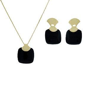 Colar e brinco pedra natural ágata preta ouro semijoia