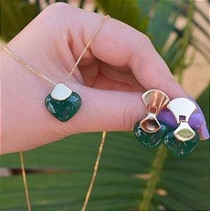 Colar e brinco coração pedra natural ágata verde ouro semijoia