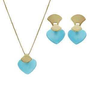 Colar e brinco coração pedra natural ágata azul céu ouro semijoia