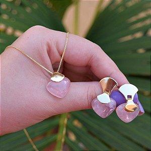 Colar e brinco coração pedra natural quartzo rosa ouro semijoia