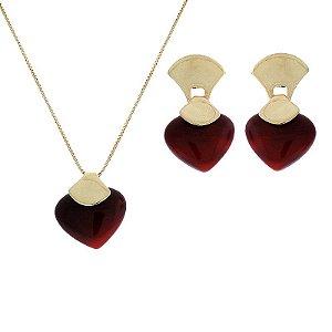 Colar e brinco coração pedra natural ágata vermelha ouro semijoia