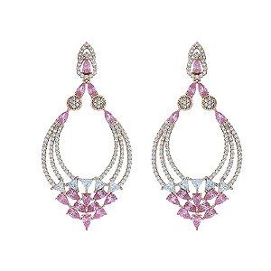 Brinco cristal rosa zircônia rosê semijoia