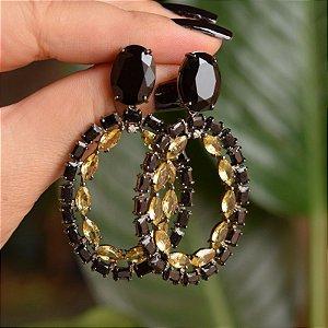 BrInco oval cristal preto e amarelo ródio negro semijoia