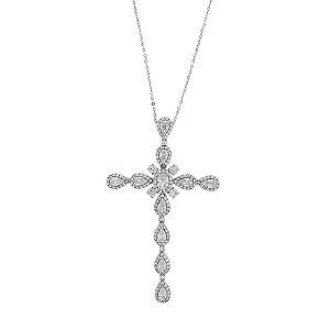 Colar Relligare Crucifixo Cristal Ródio Semijoia