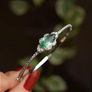 Bracelete fino zircônia cristal verde ródio semijoia