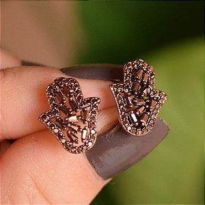 Brinco Mão de Fátima cobre semijoia