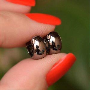 Brinco argolinha lisa ródio negro semijoia 7A20014