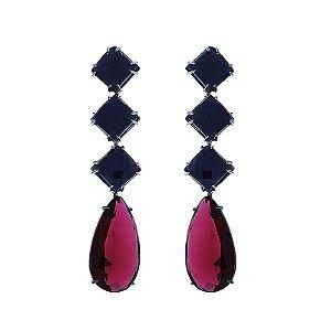 Brinco gota cristal azul royal e rubi ródio negro semijoia