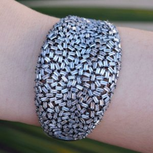 Bracelete cravejado zircônia ródio negro semijoia