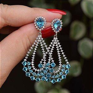 Brinco gota zircônia cristal azul ródio semijoia ref 1007