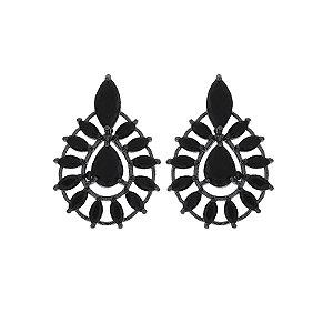 Brinco gota cristal preto ródio negro semijoia