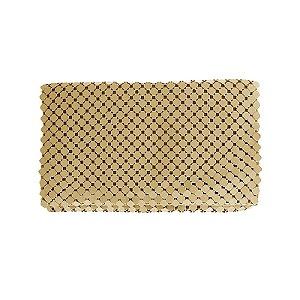 Bolsa carteira malha metal dourado