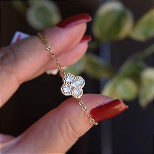 Pulseira zircônia cristal ouro semijoia