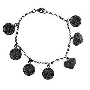 Pulseira 7 medalhas religiosas ródio negro semijoia