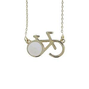 Colar bicicleta pedra natural  opalina ouro semijoia