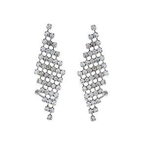 Brinco ear cuff Leticia Sarabia cristal prata