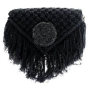 Bolsa palha Alana Tenório bordada preto