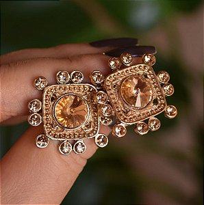 Brinco Claudia Marisguia ponteiras cristal dourado