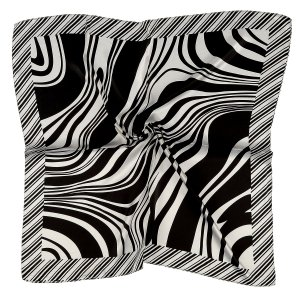 Lenço Quadrado listras preto e branco