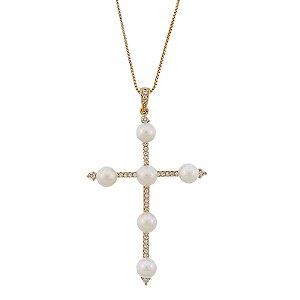 Colar crucifixo pérola zircônia cristal ouro semijoia